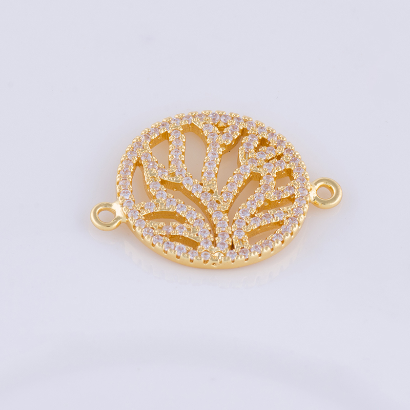 Supplies For Jewelry Round Tree Pendant Copper Jewellery Connector Charms Wholesale fit bracelet necklace jewelry make up