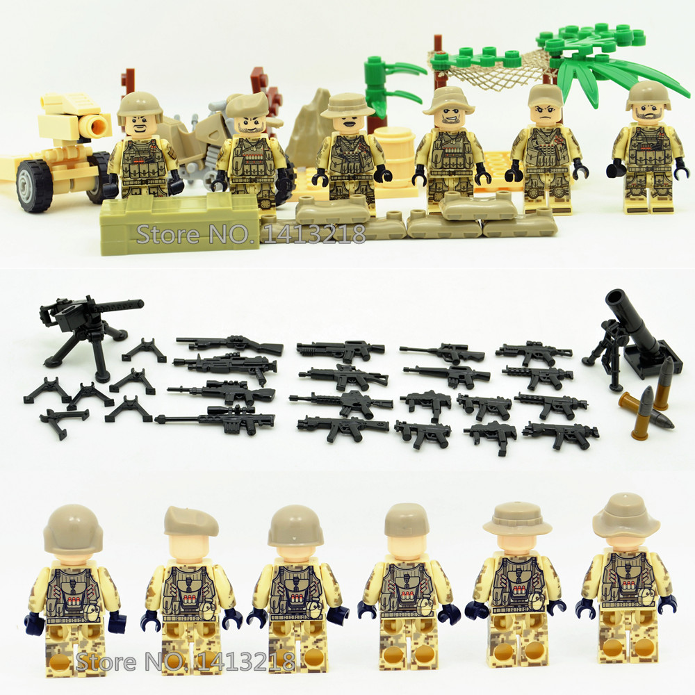 Desert Commando SWAT Military Weapon Soldier World War 2 Army Gun Motorcycle navy air force Building Blocks Figures Boy Toy Gift gonlei 6pcs german army world war 2 waffen ss military swat soldier weapon gun building blocks bricks boy toy gift legoingly