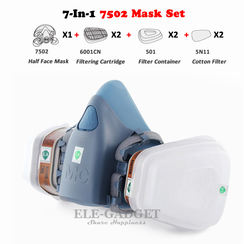 New Industrial 7-In-1 7502 Half Face Dust Mask Gas Respirator Dual Filters For Painting Spraying Laboratory Work Safety Masks 7 in 1 7502 half face mask dust gas chemical respirator dual filter for spraying painting organic vapor chemical gas safety