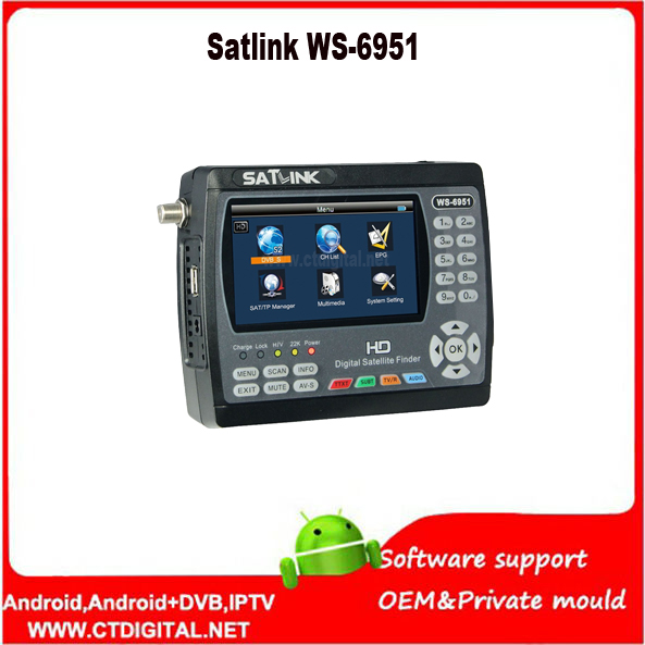Satlink WS-6951 DVB-S/S2 HD Satellite Finder with MPEG-2/MPEG-4 compliant and backlight Satlink WS 6951 Meter free shipping 1pc original satlink ws 6933 ws6933 dvb s2 fta c ku band digital satellite finder meter free shipping