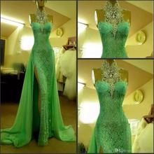SexeMara Green kadisua High Collar Evening party Dresses. US  128.00    piece Free Shipping 8d6942715b52