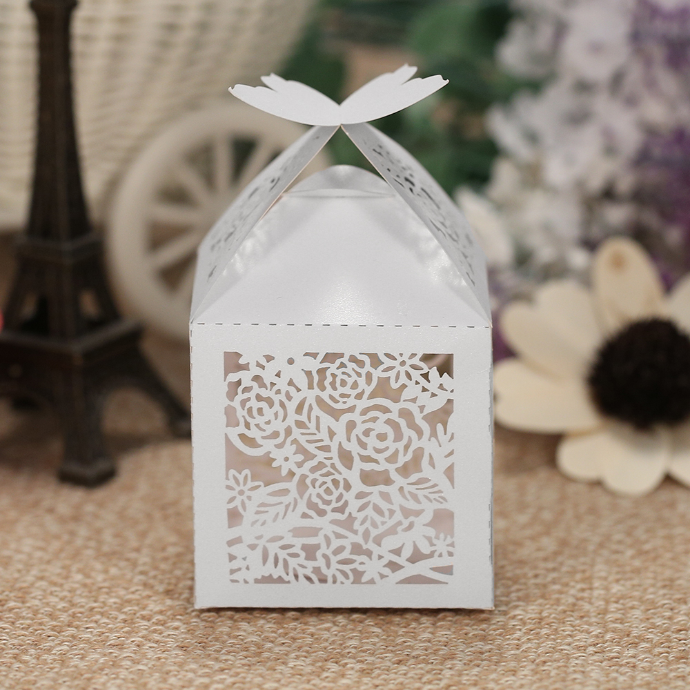 50pcs/set Candy Box Mini Laser Cut Hollow Wedding Favor Box Candy ...
