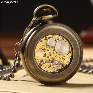 Image 2 - 새로운 뜨거운 판매 복고풍 청동 로마 숫자 기계식 주머니 시계 fob 체인 해골 손으로 감는 주머니 시계와 남성 여성을위한