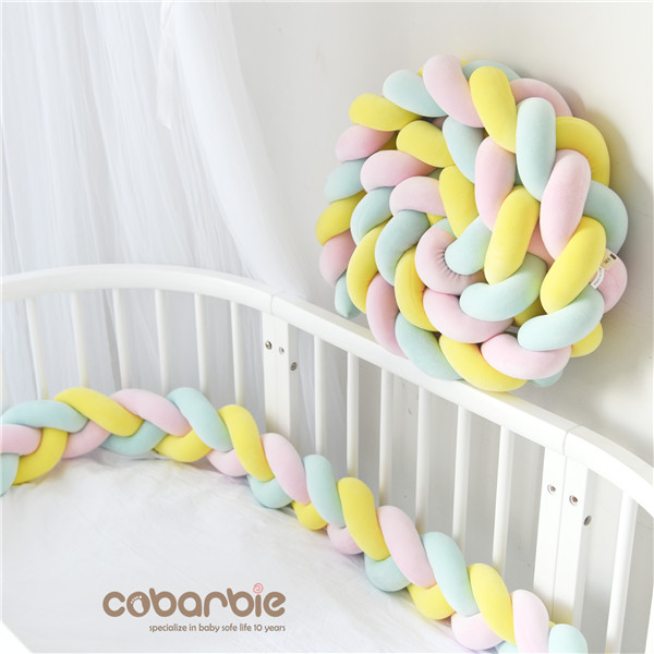 200 cm Baby Braided Crib Bumpers Knot Pillow Cushion,Nursery bedding,cot room dector