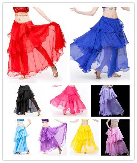 Belly Dance Layered Skirt  Indian Dance Cake Skirt Clothes Bellydance Skirt 1pc Skirt 12 Color
