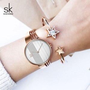 Image 5 - Shengke, conjunto de pulsera de oro rosa para mujer, novedad de 2019, reloj de cuarzo para mujer con estrella de cristal a la moda, conjunto de regalo de Navidad para mujer
