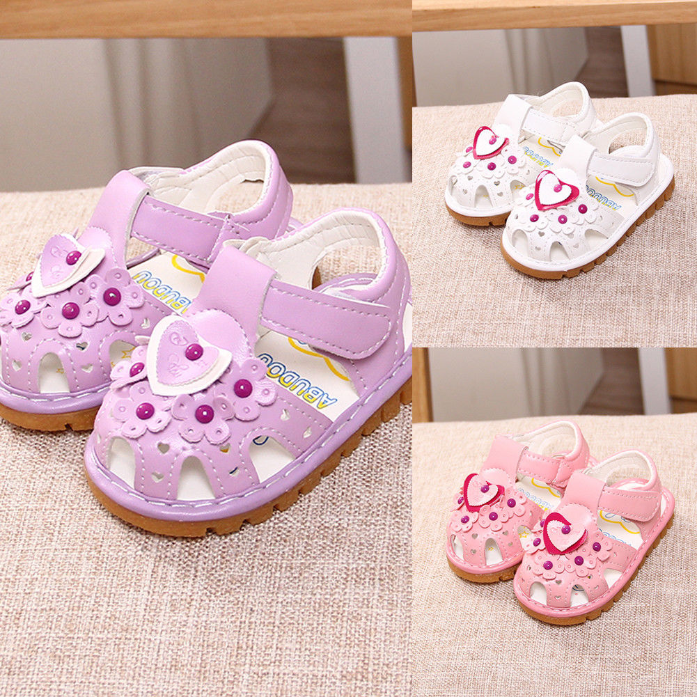 Baby Little Girl Walker Soft Sole White Purple Pink Pram Shoes Trainers Sandals