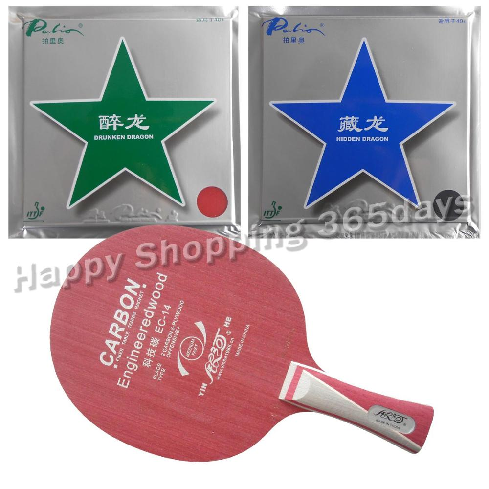 Pro Table Tennis PingPong Combo Racket: Galaxy YINHE EC-14 with Palio Hidden Dragon 40+ and Drunken Dragon 40+ Long Shakehand FL pro table tennis pingpong combo racket palio chop no 1 with kokutaku 119 and bomb mopha professional shakehand fl