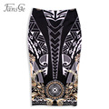 2017 Spring Women's Fashion Printed Slim Fitting Vintage Ladies Sexy High Waist Knee-Length Midi Bodycon Stretch Pencil Skirts