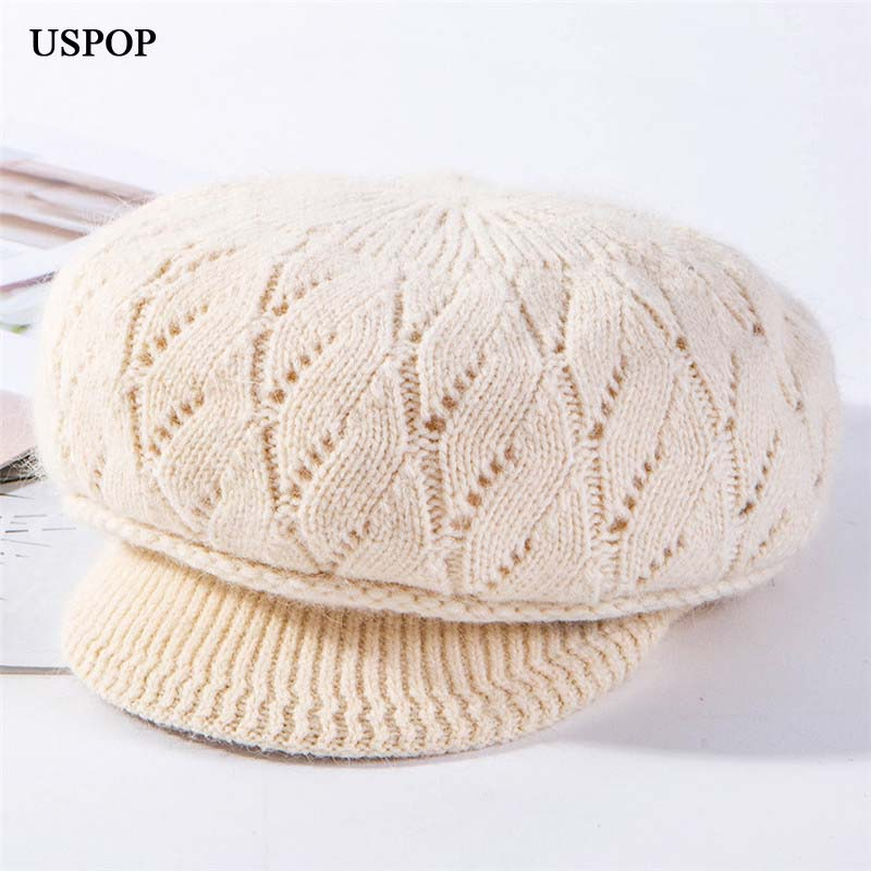 USPOP 2019 New Winter Hats Caps Women Velvet Lining Octagonal Hats Rabbit Hair Knitted Visor Cap Solid Color Thick Warm Hats