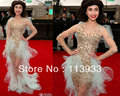 2017 Grammy New Arrival Fashion Sexy Wholesale Transparent Pearl Beaded Long Sleeve Celebrity Evening Dress Gowns Custom Made