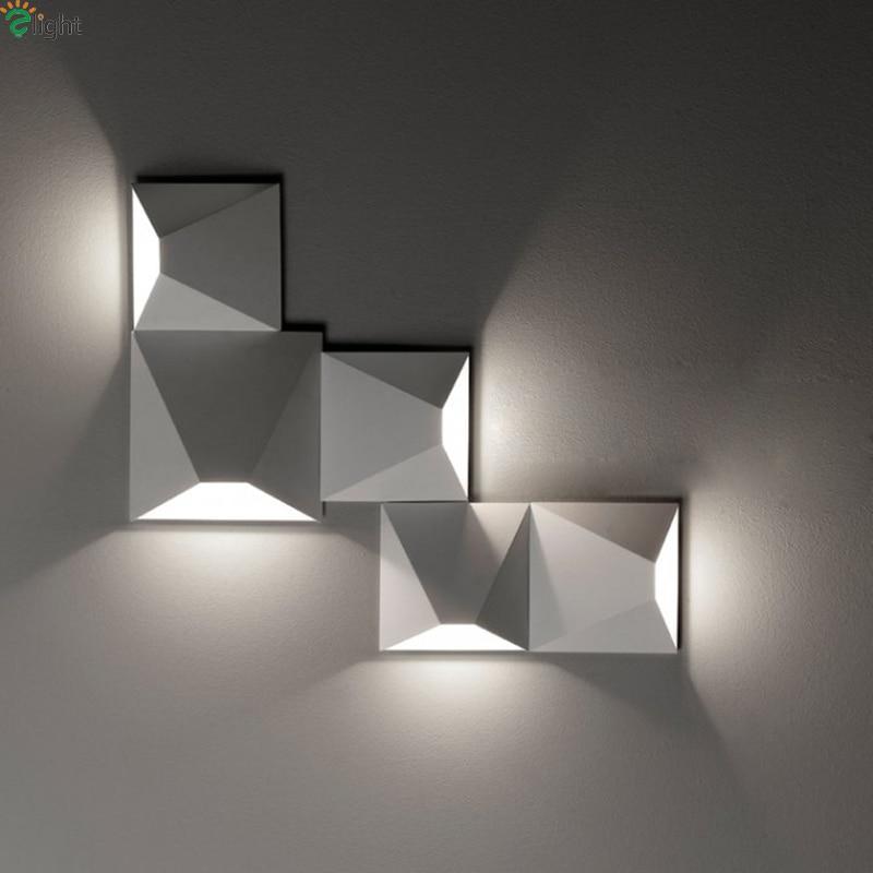 Nordic Diy Led Wall Lamp Bedroom Geometry Metal Led Wall