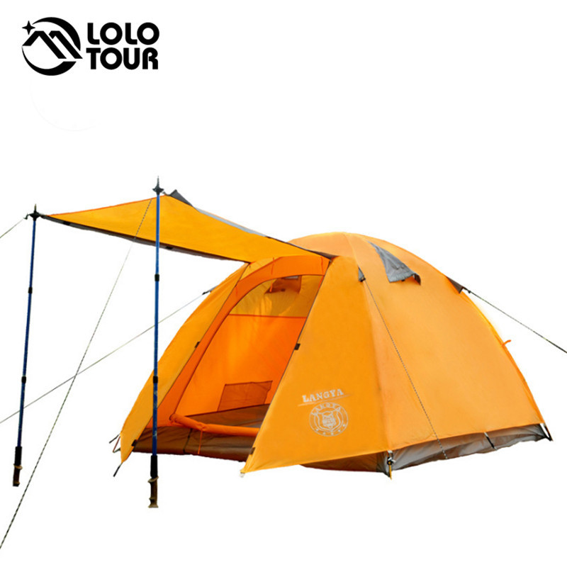 Four Season 4 Person Family Holiday Camping Tent Beach Awning Aluminum Rod Outdoor Waterproof Hiking Trekking Tourist Tente high quality outdoor 2 person camping tent double layer aluminum rod ultralight tent with snow skirt oneroad windsnow 2 plus