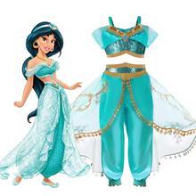 Арабский принцесса Аладдин Светоотражающий Комплект из двух предметов фильм косплей Жасмин Костюм блестками Дети Хэллоуин Vestido infantil menina