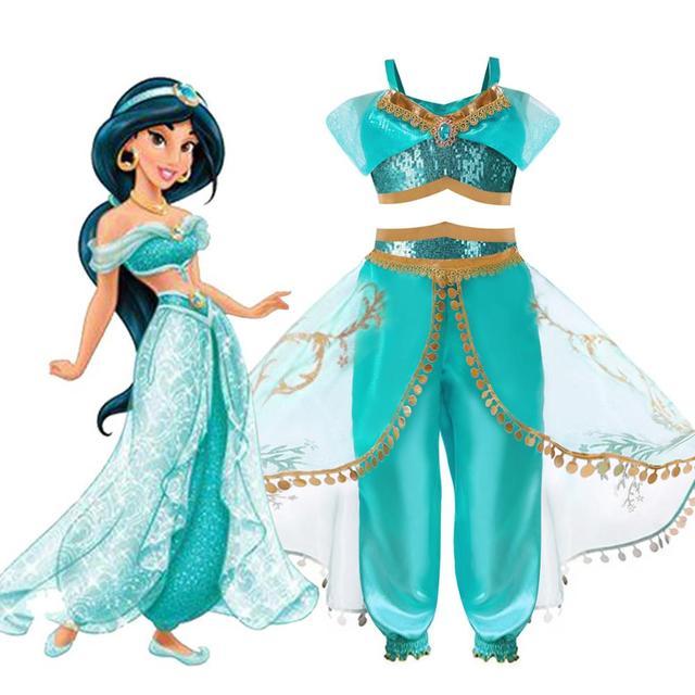 Arabische Prinses Aladdin Reflecterende tweedelige set Movie cosplay Jasmijn Kostuum Lovertjes Kids Halloween Vestido infantil menina