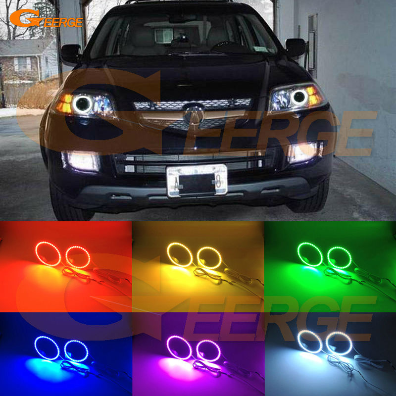 For Acura MDX 2004 2005 2006 Excellent Angel Eyes Multi-Color Ultra bright RGB LED Angel Eyes kit Halo Ring for acura tsx cl9 2004 2005 2006 2007 2008 excellent multi color ultra bright rgb led angel eyes kit halo rings