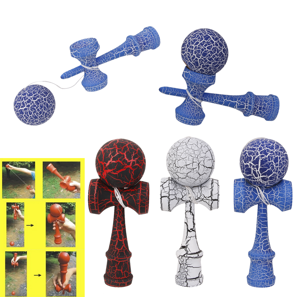 High Quality Wooden Crack Paint Kendama Toys Sword Ball Professional Wooden Toy Skillful Juggling Ball Game Toy for Children 3pcs set professional four side elasticity stage magic juggling ball toys ball