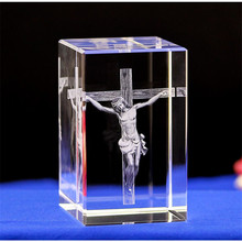 Christian Statue Miniatures Crystal cube 3D Laser Engraved Quartz Glass Block Home Decoration Accessories Gifts
