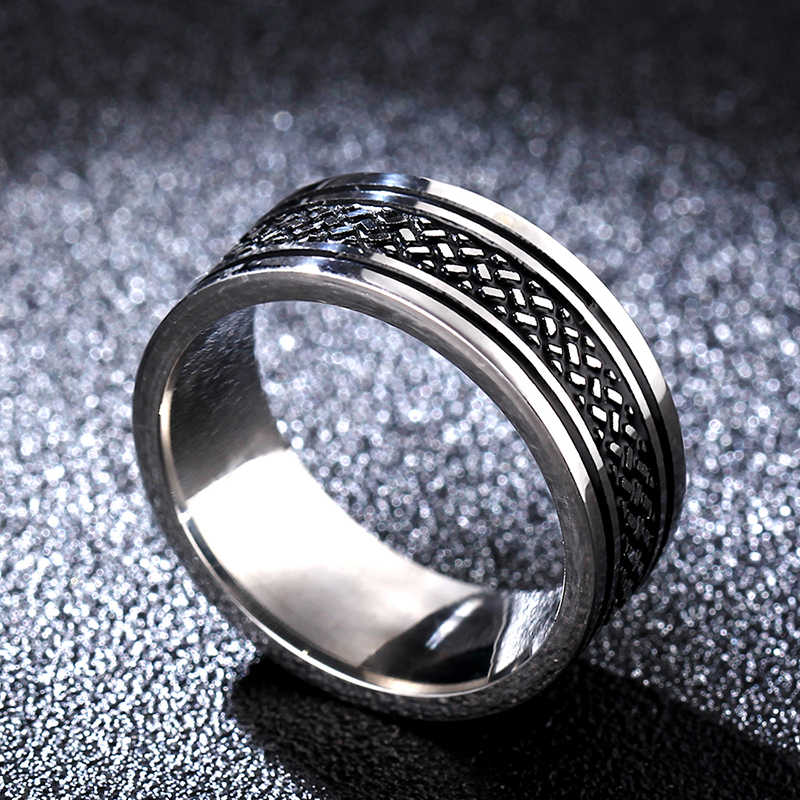 Hot Movie Tibetan finger Rings Fish Scale Ring Titanium Stainless Steel gold Ring 8MM for men's gifts
