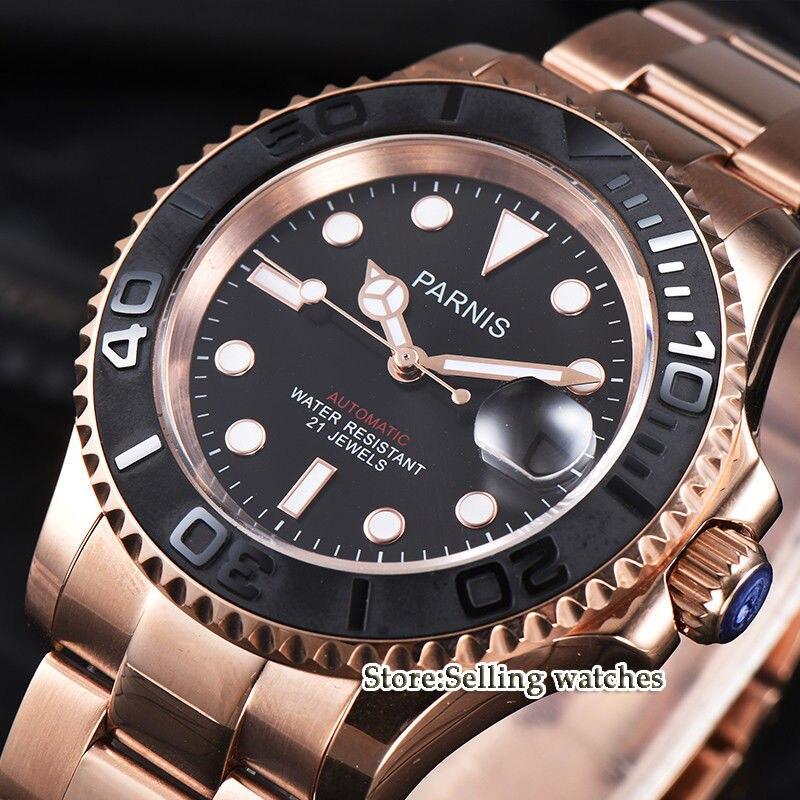 лучшая цена Parnis 41mm Date Business Luxury Black Dial Rose Gold Case Miyota 8215 Automatic Men Watch