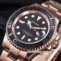 Parnis 41mm Datum Business Luxus Schwarz Zifferblatt Rose Gold Fall Miyota 8215 Automatische Männer Uhr-in Mechanische Uhren aus Uhren bei