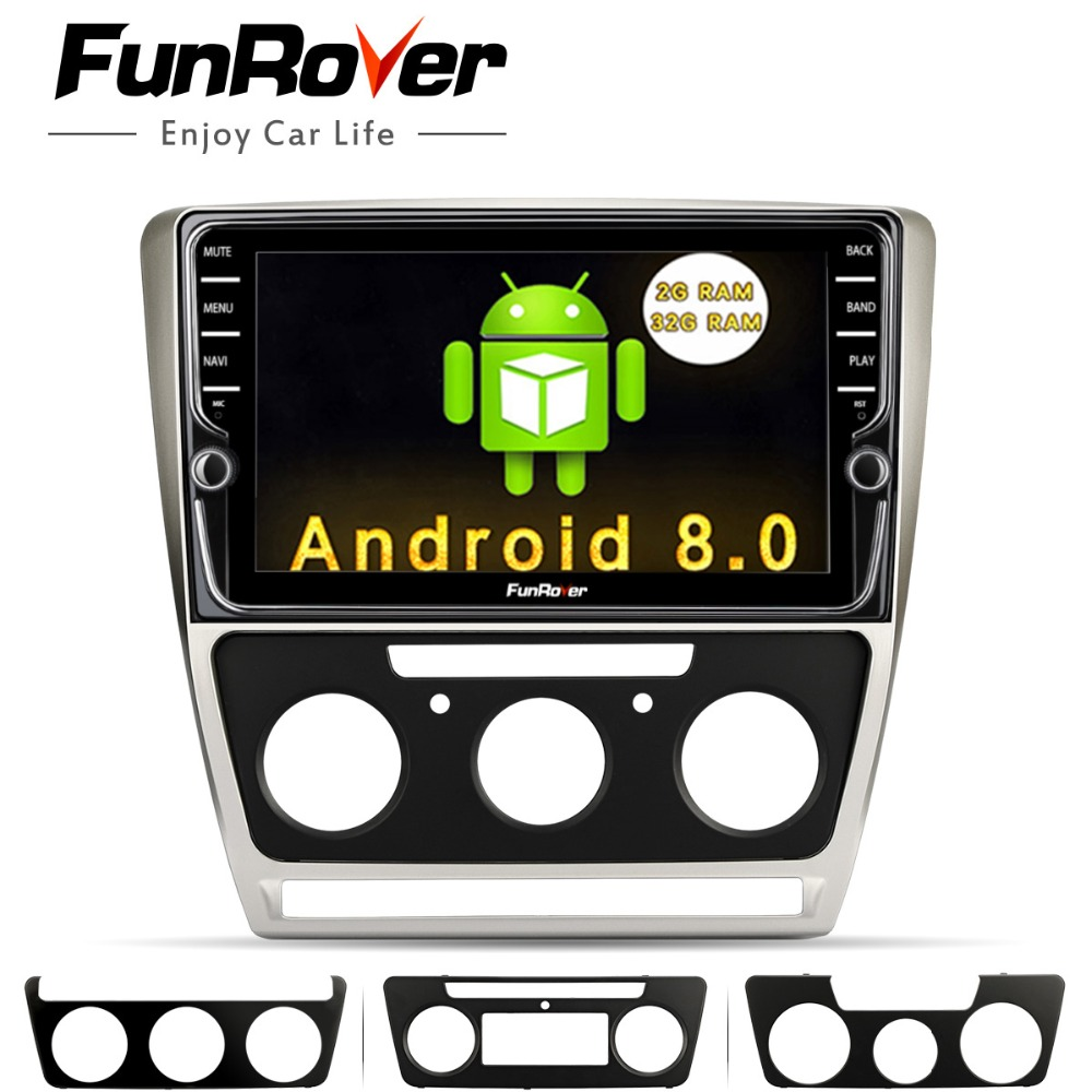 Funrover Android 8.0 Car dvd Multimedia Player For SSkoda Octavia 2012 2013 A 5 A5 Yeti Fabia 2 din Radio gps Navigation Stereo