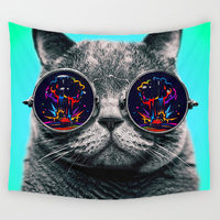 Comwarm 3D Creative Cool Cats Series Pattern Polyester Tapestry Animal Printed Wall Hanging Mural Gobelin Living Room Home Decor 3