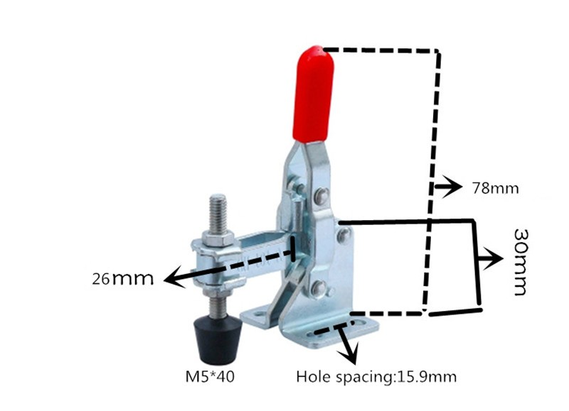 Neue 1 Stücke Gh-101-a 50kg Haltekapazität Vertical Typ Mit Flansch Basis Gerade Griff Schnell Handwerkzeug Toggle Clamp P0.2 Werkzeuge