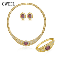 CWEEL luxury Jewelry Sets For Women Necklace Earrings Bracelet Ring Gold Plated Wedding Imitated Crystal Engagement Accessories