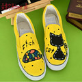 2017 женщин весна осень ручная роспись холст обувь личности kitten ног обертывание cat женский граффити обувь