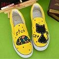 2017 primavera outono das mulheres mão-pintado sapatas de lona gatinho personalidade grafite sapatos embrulho pé cat feminino
