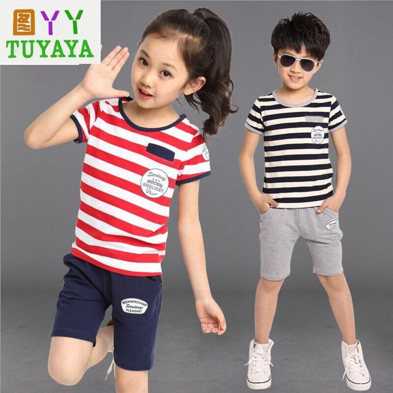 Striped Girls Clothing Set 2018 New Girls Clothes Set Boy Sports Suit Boys Girls Tracksuit Cotton T Shirt+Pant Suit Kids Clothes