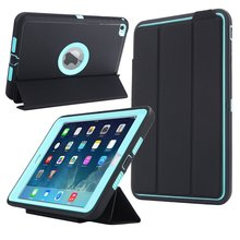 For iPad Mini 4 Smart Cover Retina Kids Safe Armor Shockproof Heavy Duty PC+Silicone Tablet Cases Cover w/Screen Protector Film