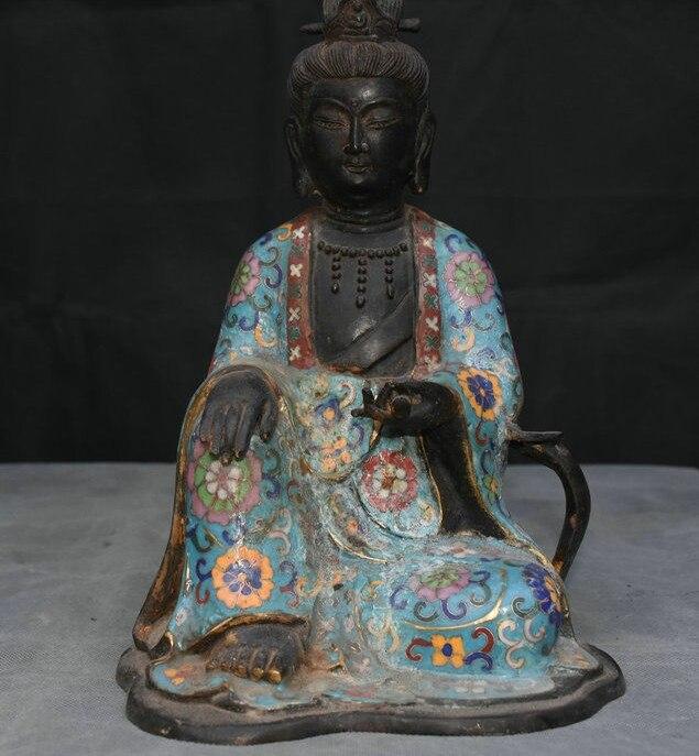 11.2 Old China Purple Bronze Cloisonne Enamel Kwan-yin Guan Yin Goddess Statue