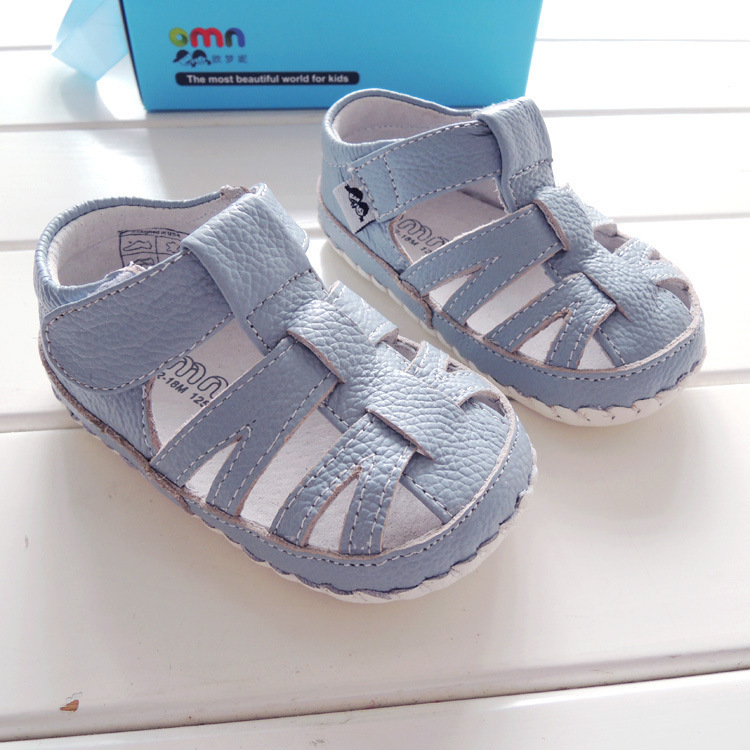 OMN Summer Style Blue Grey Soft Sole Indoor Genuine Leather Baby Boys Sandals Fashion Baby Girls Shoes Baby Moccasins