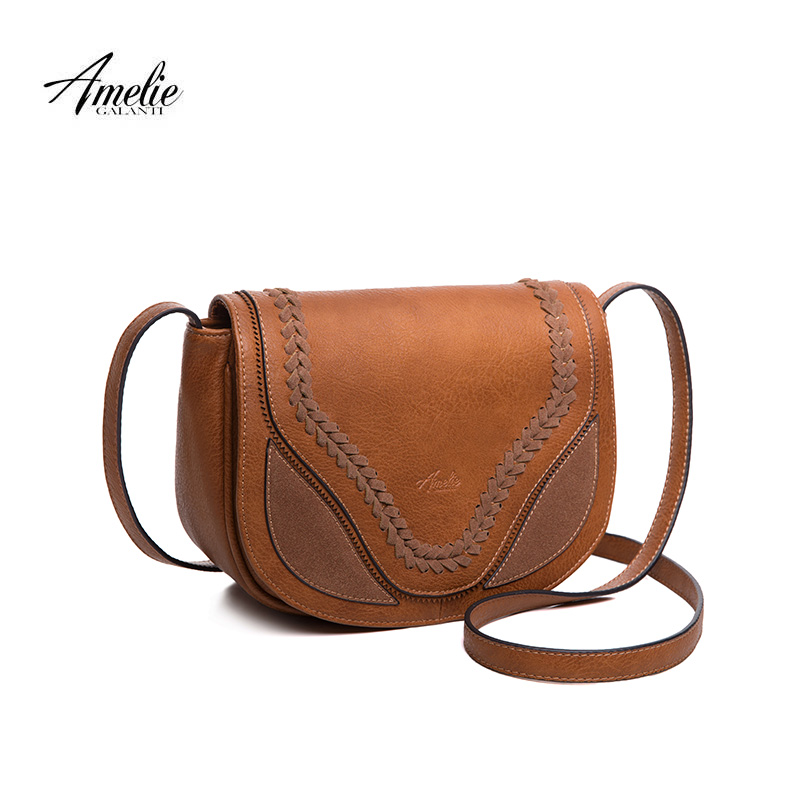 AMELIE GALANTI crossbody bags for women vintage shoulder bags saddle purse and handbags with lacing flap closure wide straps