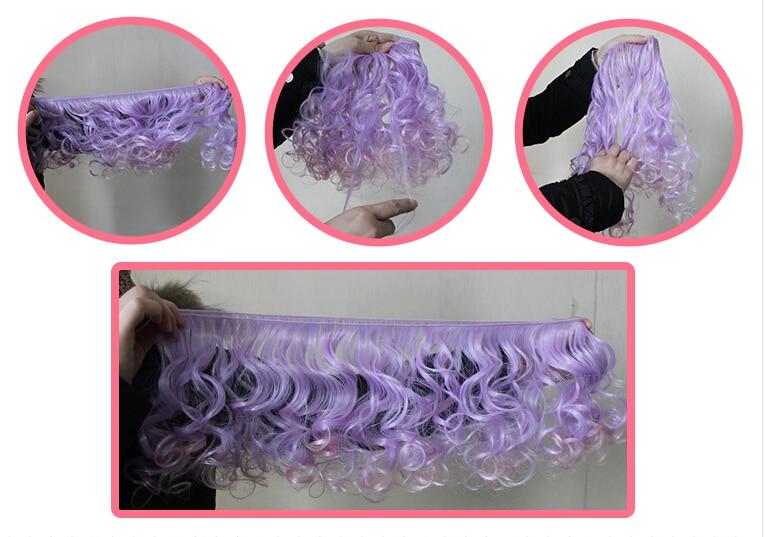 AILAIKI 15 * 100cm 5st / lot Toy 1/3 1/4 1/6 BJD Dolls DIY Curly Wig - Dockor och tillbehör - Foto 5