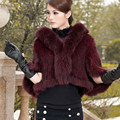 S1059 Women Real Mink Fur Thick Knitted Poncho Ladies Fur Shawl Cape