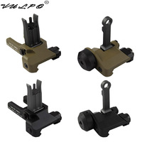 VULPO Tactical KAC Style 300M Flip Up Folding Iron Sight Front Rear Sight For Airsoft Hunting