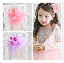 Fashion Girls Hairbands Beautiful Princess Headwear Lace Pearls Tiaras Hair Bow Accessories Childrens Gifts Party