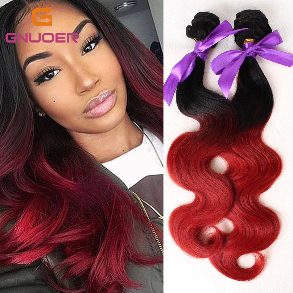 Fashion 3 Bundles 2 Tone Ombre Black To Red Wavy Synthetic Hair