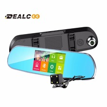 Dealcoo 5 inch Car DVR Recorder Camera GPS Android Rearview Mirror 1080P Dual Lens Camera Video