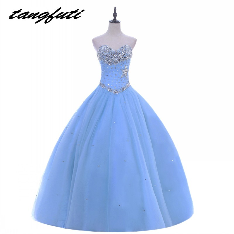 edd3f7570fa Light Sky Blue Quinceanera Dresses Ball Gown Beaded Crystals Girls  Masquerade Sweet 16 Dresses Ball Gowns vestidos de 15 anos