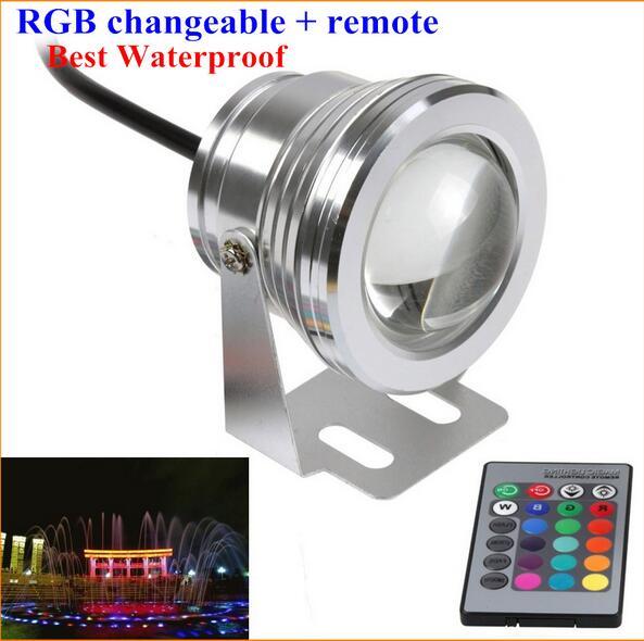 Аквариум светодиодные Освещение RGB 10 Вт 12 В светодиодный прожектор 16 Цвета 1000lm Водонепроницаемый IP68 фонтан бассейн лампы Освещение ...