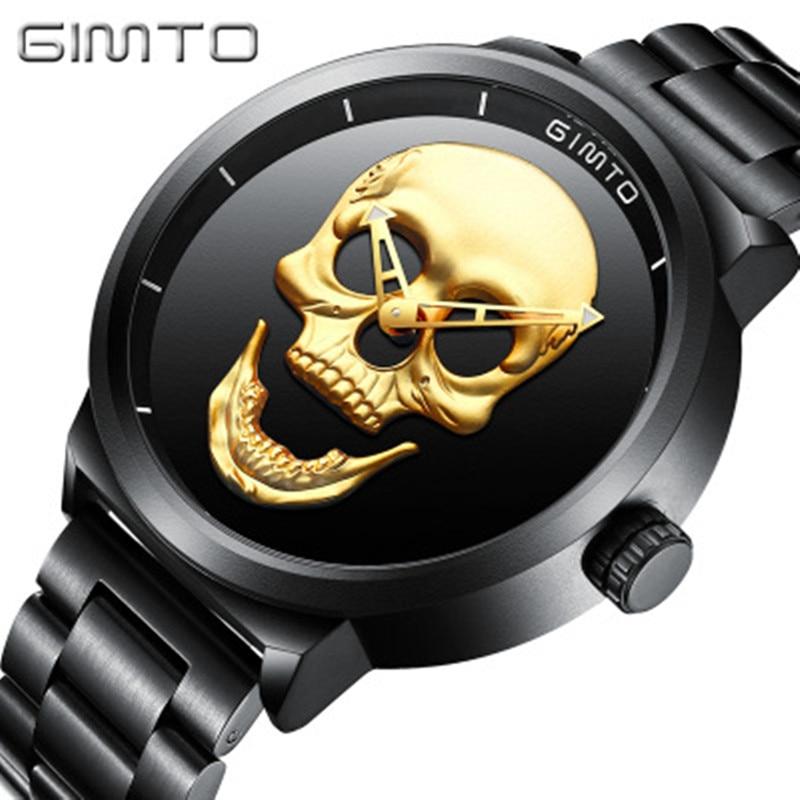 GIMTO Top Brand New Creativity Skull Men's Watch Luxury Black Steel Quartz Clock Men Boy Military Watch Sports Relogio Masculino