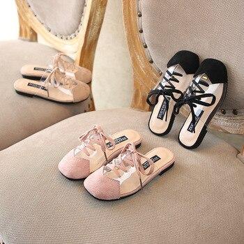 Pantoufles Pour Les Enfants   Été 2019 Nouveaux Enfants Princesse Pantoufles Bébé Filles Chaussures Noires Enfants Bout Fermé Diapositives Mode Doux Pantoufles Marque Doux Appartements