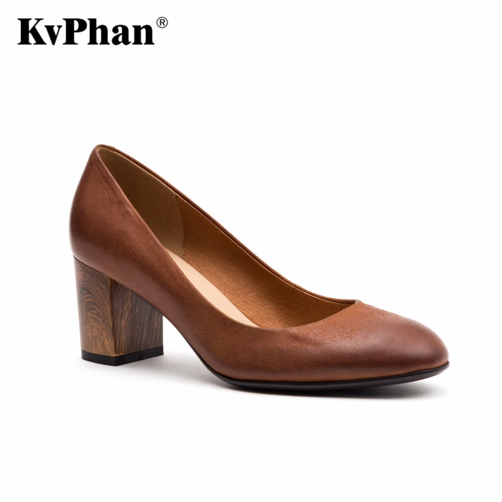 KvPhan Brown Genuine Leather Pumps For Women Shoes Square Heel Luxury Quality Heels Round Toe Slip On Bridal Shoes Russion Size 2017 shoes women med heels tassel slip on women pumps solid round toe high quality loafers preppy style lady casual shoes 17