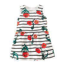 Little Maven New Summer Kids Clothing  Striped Sleeveless Carnation Printed O-neck Knitted 1-6yrs Floral Cotton Girls Dresses