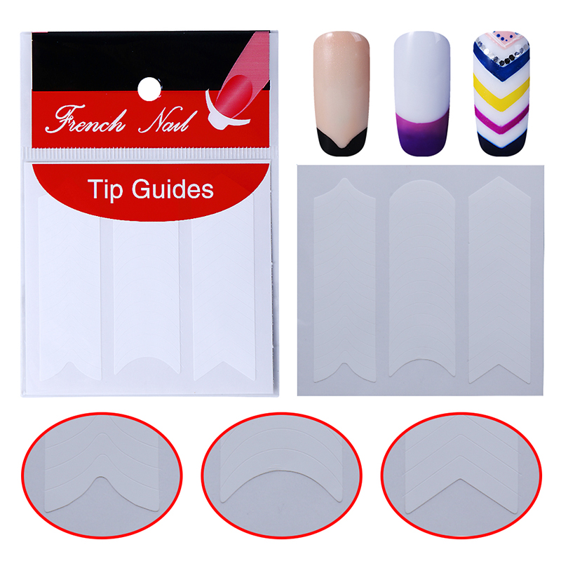 5pcs Nails Sticker Tips Guide French Manicure Nail Art Decals Form Fringe Guides Sticker for UV French Polish DIY 12 Patterns 12pcs set nail art guide tips hollow stencils sticker french manicure template 3d vinyls decals form styling tool