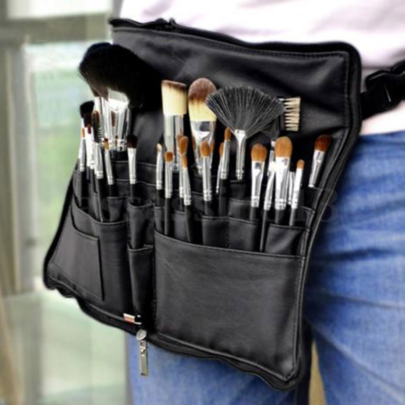 Black Two Arrays Makeup Brushes Holder Pvc Apron Bag Artist Belt Strap Makeup Brushes Tools For Make Up Cosmetic Brushes Bags Keep You Fit All The Time Makeup Tools & Accessories Eye Shadow Applicator